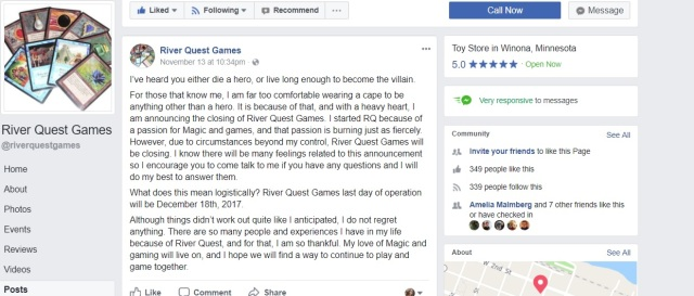 Facebook post stating River Quest games is closing